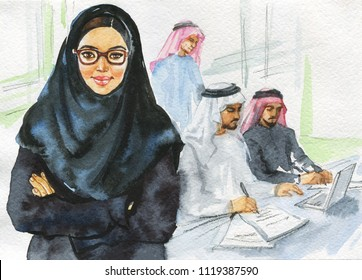 Hand drawn arabian woman working at the office. Watercolor portrait of modern and free muslim lady boss. Sketching feminist illustration