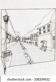 hand drawn architectural perspective of  pedestrian street