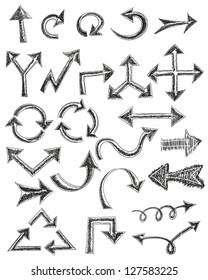 Hand drawn arrows set. Raster version.