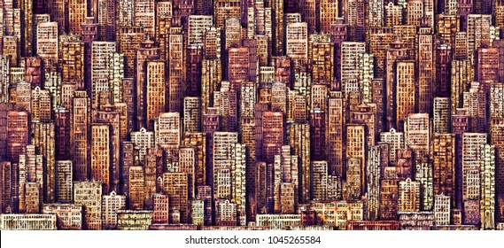 Hand drawn background with big city New York.  vintage illustration with NYC architecture, skyscrapers, megapolis, buildings, downtown.