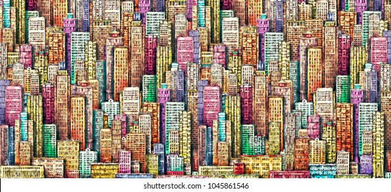 Hand drawn background with big city. vintage illustration with architecture, skyscrapers, megapolis, buildings, downtown.