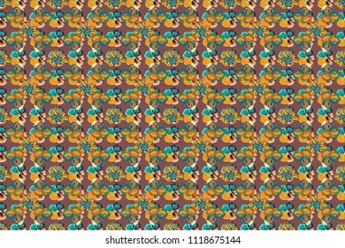 Hand drawn background in blue, purple and orange colors. Elements for your design. Raster seamless flower ornament pattern for printing on fabric or paper.