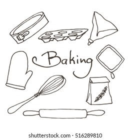 Hand drawn baking tools set. Bakery elements sketch.
