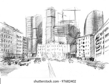 hand drawn of a big city with a modern skyscrapers