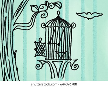 Hand drawn bird cage on the tree on blue stripe background, cartoon illustration painted by paper chalk in black color, high quality