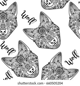 Hand drawn black doodle wolf face, seamless pattern. illustration