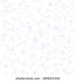 Hand Drawn blue Snowflakes Christmas Seamless Pattern. Subtle Flying Snow Flakes on white Background. Cute chalk handdrawn snow overlay. Favorable holiday season decoration.