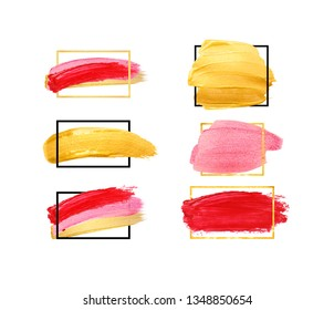 Hand drawn brush stroke design elements. Set of gold, pink and red strokes isolated on white background. Lipstick bullet smudged. Beautiful textured brush stroke with geometrical frame