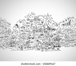 Hand drawn business ideas sketch against white background