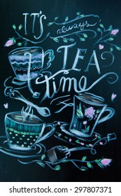 Hand drawn cafe poster with collage, different style words. Lettering design signboard for confectionery.Tea word. Tea party.