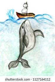 Hand drawn cartoon whale, colorful watercolor illustration.