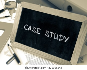 Hand Drawn Case Study Concept  on Chalkboard. Blurred Background. Toned Image. 3d Render.