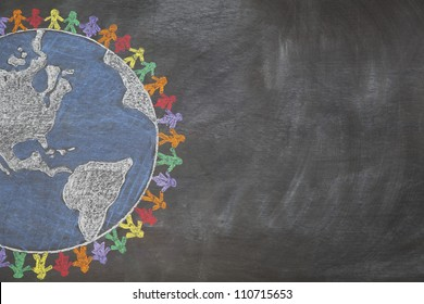 A hand drawn chalkboard shows multi-ratial people holding hands around the world to show care for the earth, peace, and unity.  Shown off centered for copy-space.