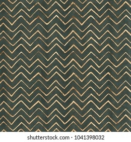 Hand drawn chevron stripes in rose gold on a kale green paper textured background