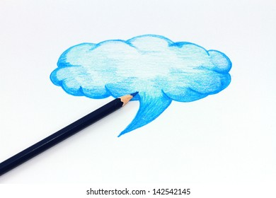 Hand drawn, cloud shape on white background