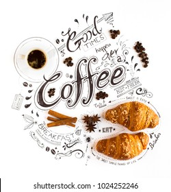Hand Drawn Coffee Lettering Typography with various themed text, brioches, spices and coffee beens in a vintage composition.