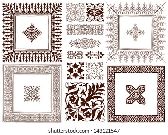Hand drawn collection of different ornate decorative calligraphic design elements of classical symmetrical vintage filigree ornament designs