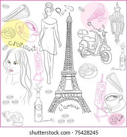 Hand drawn collection of symbols of Paris