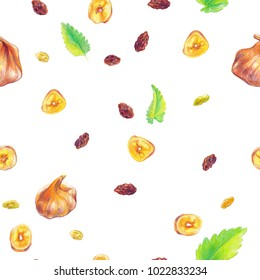 Hand drawn color pencils dry fruits and mint leaves seamless pattern.
