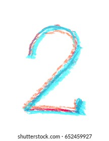 Hand drawn with the colorful chalks number two symbol isolated over the white background