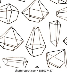 Hand drawn crystal terrarium seamless pattern. Raster illustration for your design.