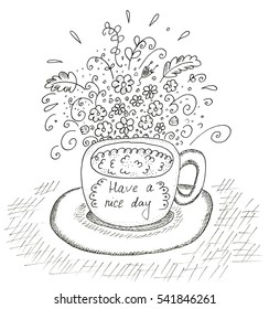 Hand Drawn cup with flowers black on white.