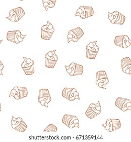 Hand drawn cupcakes seamless pattern. Print for bakery.