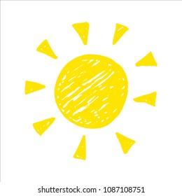 Hand drawn cute Sun icons. Weather and forecast symbols. Child crayon illustration.