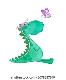 Hand drawn cute watercolor dinosaur