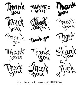 Hand drawn decorating typography on white background. Set of sketched design elements for window printing, making invitations, wall decor. Thank you phrase.