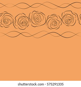 Hand drawn elements. Horizontal roses silhouette in yellow and black colors. Seamless background pattern with copy space (place for your text).
