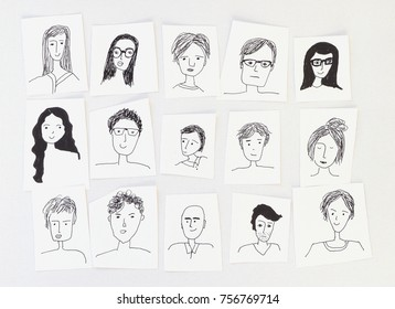 hand drawn faces
