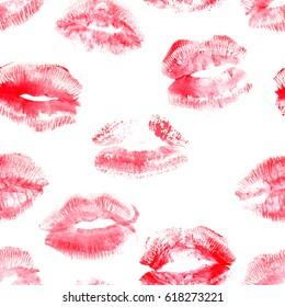 Hand drawn fashion illustration lipstick kiss. Female seamless pattern with red lips. Romantic background