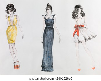 Pencil Sketches Dress Designs Images Stock Photos Vectors Shutterstock