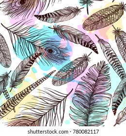 Hand drawn feathers seamless pattern with bird plumes and colorful painting stains  illustration