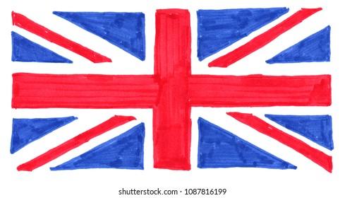 hand drawn with felt tip pen national flag of the United Kingdom (UK) aka Union Jack