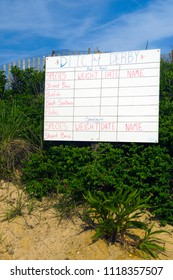 hand drawn fishing contest sign on dunes in Montauk, New York, Ditch Plains Beach