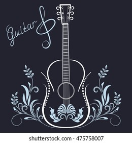 Hand drawn floral ornament and guitar with treble clef and  inscriptions