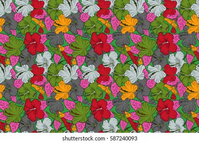 Hand drawn floral texture, green, gray and yellow decorative flowers. Raster illustration. Raster seamless colorful floral pattern.