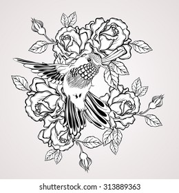 Hand drawn flying humming bird with rose flower vintage style. Elegant tattoo art. Illustration isolated