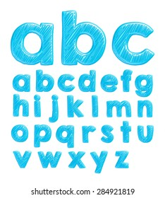 Hand drawn font for school in 3d