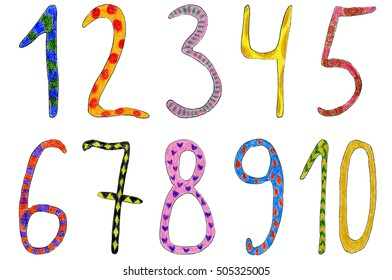 Hand drawn funny numbers. Learn to count numbers. Funny cartoon childish illustration.
