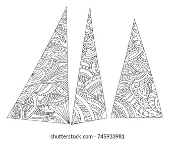 Hand drawn geometric ornamental composition in zen style for art home, decorate stationery, wall. Page anti-stress adult coloring book.