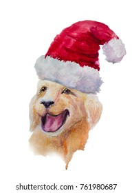 Hand drawn ginger Labradorl dog portrait in Santa Claus cap. Symbol of New Year 2018. Watercolor illustration isolated on white background.