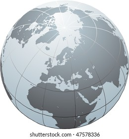 Hand drawn globe with Africa, Europe, Asia and North America