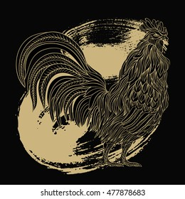 Hand drawn gold rooster in line art style. Symbol of chinese new year.