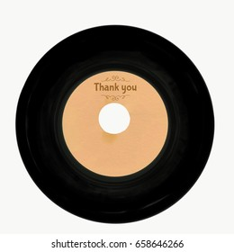 Hand drawn Gramophone record with wording thank you on white background