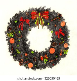 hand drawn graphic color christmas wreath