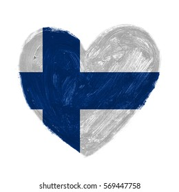 Hand drawn heart with flag of Finland.