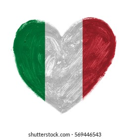 Hand drawn heart with flag of Italy.